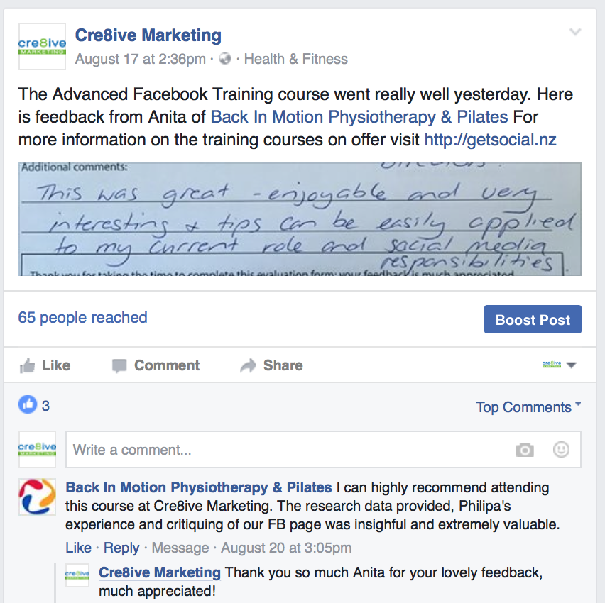 testimonial from Back in motion of advanced facebook training