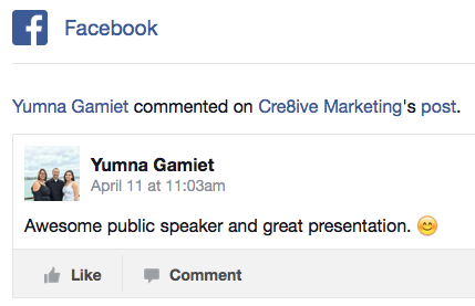 Social media speaker Philippa Crick feedback on Facebook Training